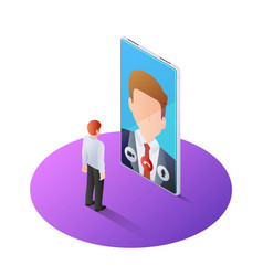 3d isometric businessman having video call with vector image