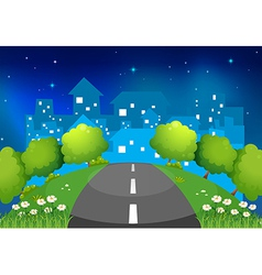 A road at hill with flowers and trees vector