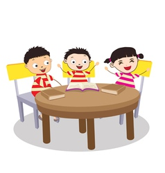 A Small Group of Kids Open Book and learning vector