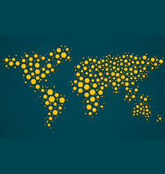 Abstract world map of hexagonal molecular vector