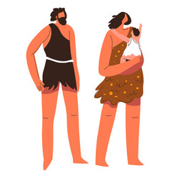 Ancient people tribe family of father and mother vector