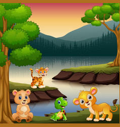 animals are enjoying nature by the lake vector image