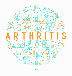 arthritis concept in circle with thin line icons vector image