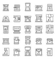 Automatic coffee machine icons set outline style vector