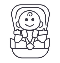 baby in car security chair line icon sign vector image