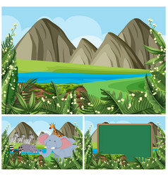 Background scenes with mountain and animals vector