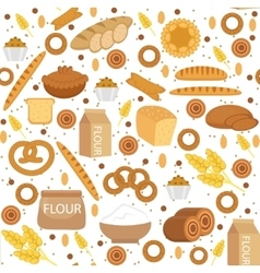 Bakery seamless pattern Flat style Bread and vector