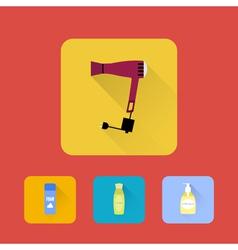 Bathroom elements shampoo hair dryer shaving gel vector