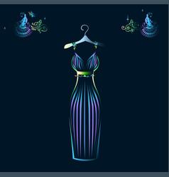 beautiful shining evening dress silhouette vector image