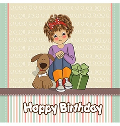 Birthday greeting card with pretty little girl vector