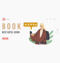 book best hotel room landing page template female vector image