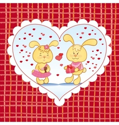 Bright background with hearts and bunnies vector image