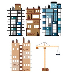Buildings and construction tools vector image