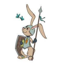 Bunny knight with a lance and shield vector