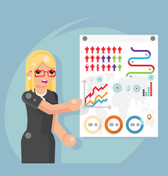 business infographics presentation female vector image