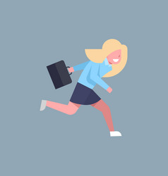 business woman running hold suitcase female office vector image