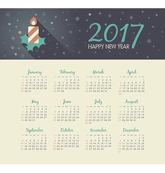 Calendar 2017 year with christmas candle vector