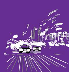 car night city abstract urban street vector image