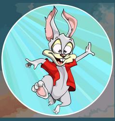cartoon joyful hare in a red shirt fun jumps vector image