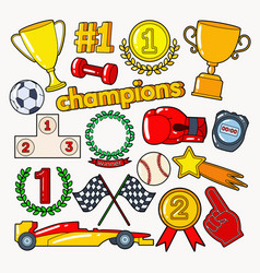 champions doodle with medals prize vector image