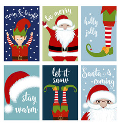 christmas card collection with santa and elves vector image