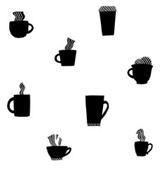 coffee drink types mugs seamless pattern vector image