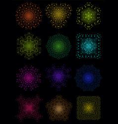 Colorful bright lattice shape molecular structure vector