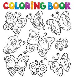 Coloring book various butterflies theme 1 vector