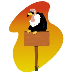 Condor on a wooden sign vector