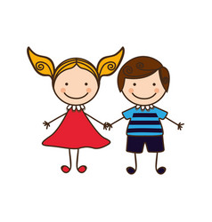 Couple boy and girl cartoons icon vector