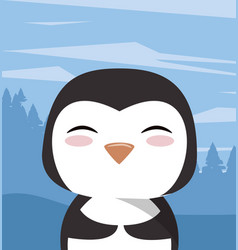 Cute little penguin character icon vector