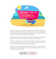 discount 25 off summer sale poster push buttons vector image