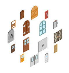 doors icons set isometric 3d style vector image