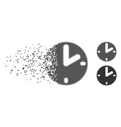 Dust pixel halftone clock icon vector