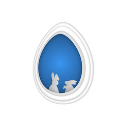 easter bunny rabbit in hole papercut art vector image