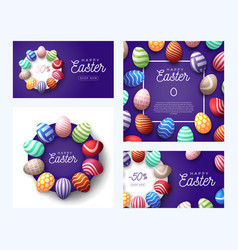 easter egg banner greeting card set happy easter vector image