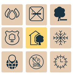 ecology icons set with globe pointer water drops vector image