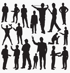 engineers with hard silhouettes vector image