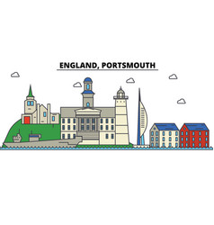England portsmouth city skyline architecture vector