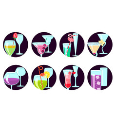 Exotic cocktail set vector