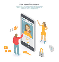 Face recognition concept background isometric vector