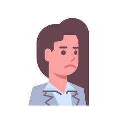 Female upset emotion icon isolated avatar woman vector