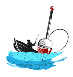 fisherman with a fishing rod and a float vector image