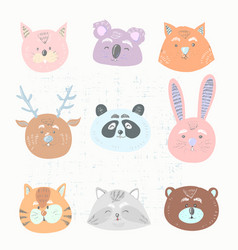 funny animals face collection vector image
