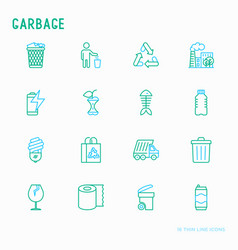 Garbage thin line icons set vector