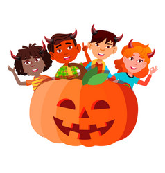 Group of children with devil horns peeking out vector