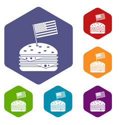 Hamburger icons set hexagon vector