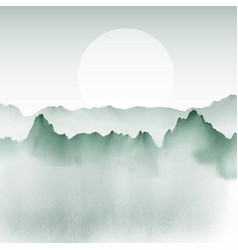 Hand painted mountain landscape vector