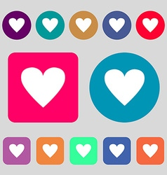 Heart sign icon Love symbol 12 colored buttons vector image
