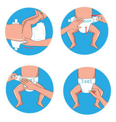 How to wear a diaper steps simple manual vector